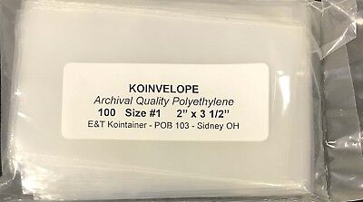 """Coin Poly Envelopes Clear Archival Koinvelopes Size #1 2x3.5 """" For Crowns Dollar"""
