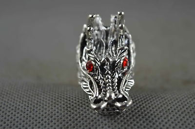 Collectable Handwork Decor Old Miao Silver Carve Myth Dragon Ancient Lucky Ring