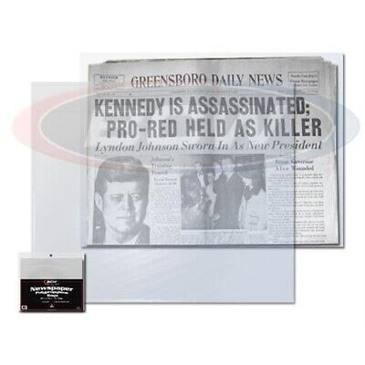 "BCW Newspaper Bags Sleeves Pack Of 100 Protectors 1.5"" Flap Archival Poly 2 Mil"