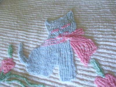Vintage 40s Thick Baby Youth Chenille Bedspread Blanket Lg Kitten Cat Kitty Chic