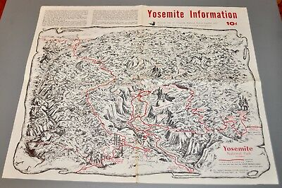 1971 Yosemite National Park California vintage informational brochure map Judd