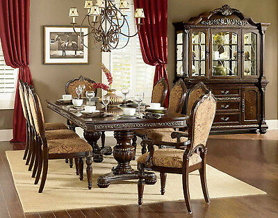 5-7 PC Formal Dining Room Set Luxury Dining Set Table Chairs Dark Cherry Finish