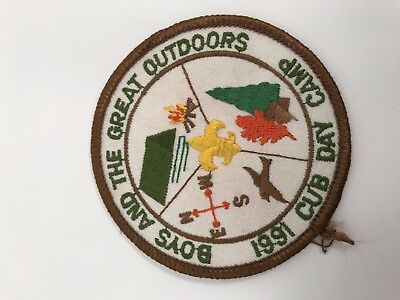 Vintage 1991 BSA Boy Scouts Boys And The Great Outdoors Cub Day Camp Patch