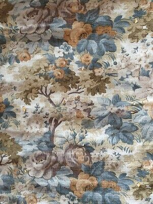 Antique 1800s Bed Cover Primitive Floral Fabric Yarn Ties 83 x 79