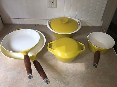 Vintage Naaco And Copco Michael Lax Yellow Enamel Cast Iron Cookware.