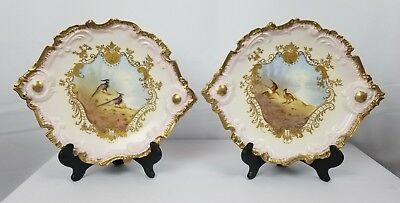 RARE Pair Of Hand Painted Antique Limoges Plates