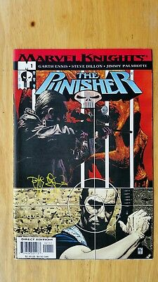 The Punisher #1 NM/9.4 Marvel Knights 2001 signed by Tim Bradstreet Ennis/Dillon