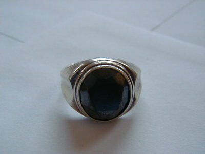 Old Sterling Silver Hematite Ring Men's Size 11 Used Good Condition