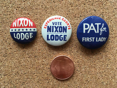 Richard Nixon for President set of 3 campaign buttons 1960 Henry Cabot Lodge VP
