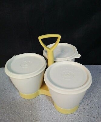 Tupperware Condiment Server Containers & Caddy 757-10 Harvest Gold