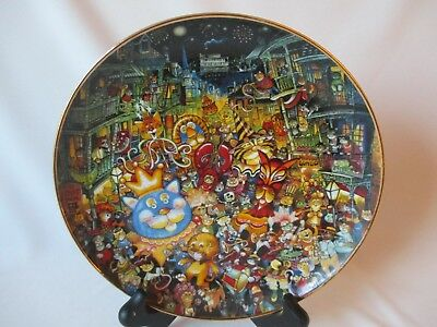 Franklin Mint Limited Edition Meowdi Gras Collector Plate by Bill Bell ~ HA 1585