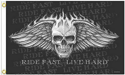5/' x 3/' Skull and Crossbones Biker Eagle Flag Pirate Motorcycle Cycles Banner