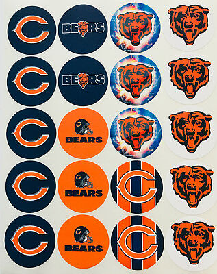 """SET of 20- 2"""" CHICAGO BEARS ADHESIVE STICKERS.Football.Make Cupcake Toppers"""