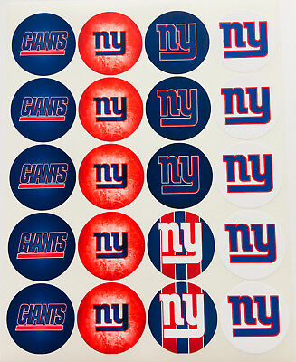 """SET of 20- 2"""" NEW YORK GIANTS ADHESIVE STICKERS.Make Birthday cupcake toppers!"""