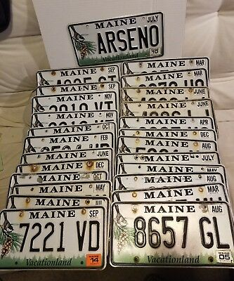 "Bulk Lot Of 25 Maine ""Black Capped Chickadee/Vacationland"""" License Plates"