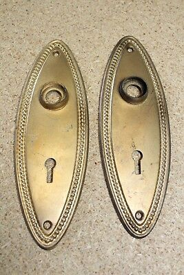 2 Vintage OVAL Beaded Copper Flashed Door Knob Back Plates w/ Keyhole