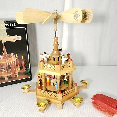 german christmas nativity 2 tier pyramid wooden carousel windmill candle holder