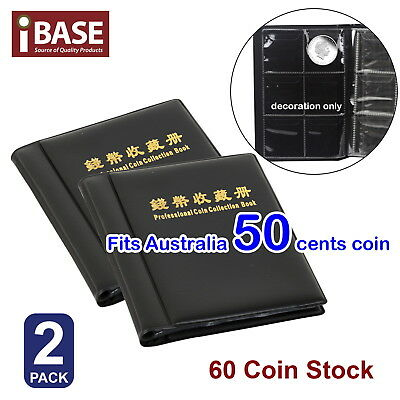 2x COIN HOLDER 60 COLLECTION COLLECTING ALBUM STOCK STORAGE MONEY POCKET BOOK