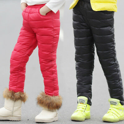 Winter Down Pants For Boys & Girls Children's Fashion Solid Parka Warm Trousers