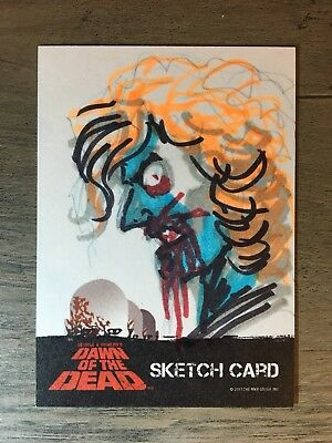 Dawn Of The Dead Trading Cards Sketch Jeff Zornow Fright-Rags Zombie