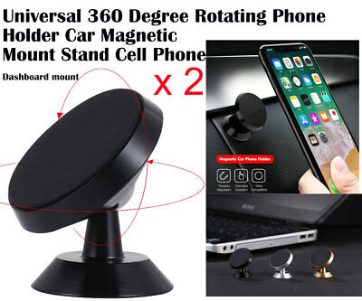 2 x 360 Rotating Universal Dashboard Mount Magnetic Car Phone Holder for iPhone