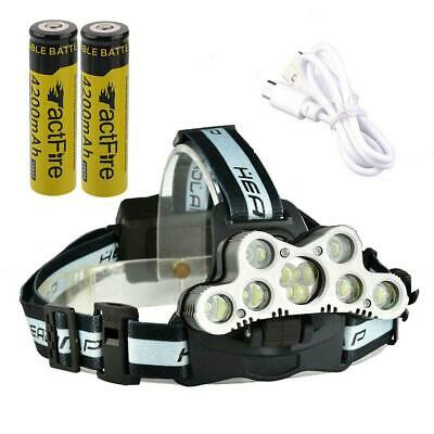200000LM Rechargeable 9-LED Headlamp Headlight Torch Lamp + Battery + USB Cable