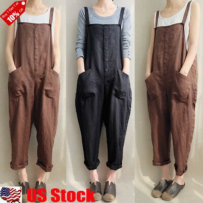 8d7b749555dc Womens Casual Loose Linen Pants Cotton Jumpsuit Strappy Harem Trousers  Overalls