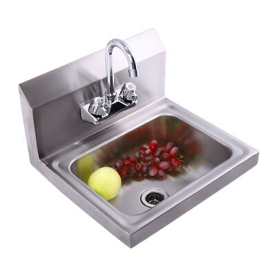 Commercial Stainless Steel Hand Wash Washing Wall Mount Sink Kitchen