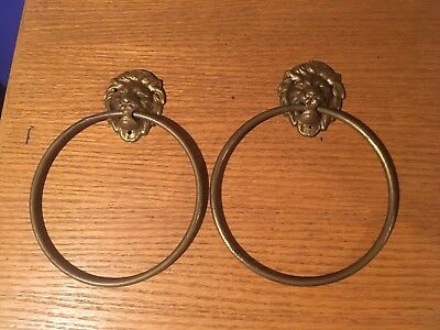 Pair Of Vintage Brass Lion Head Face Towel Ring Antique Hardware