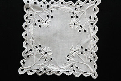 Vintage square white linen cloth with white embroidery and cutwork.