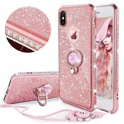 For iPhone 11 6s X 8 7 Diamond Ring Stand Bling Glitter TPU Case Cover & Lanyard