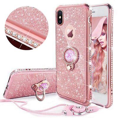 For iPhone 6s 6+ X 8 7 Diamond Ring Stand Bling Glitter TPU Case Cover & Lanyard