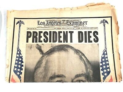 Vintage Newspaper Lot President Dies FDR L.A. Examiner April 13, 1945