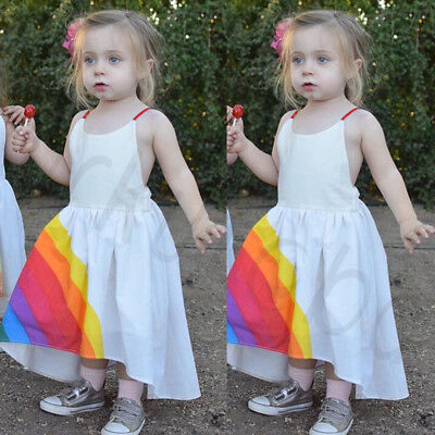 Newest Pretty  Baby Flower Girl Princess Rainbow Dress Party Wedding Bridesmaid
