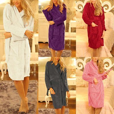 Women's Ultra Soft Fleece Plush Bathrobe Luxury Shawl Spa Long Robes Sleepwear