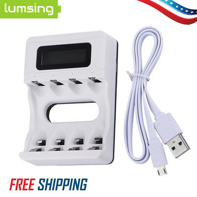 4 Slots LCD AA/AAA NiCD NiMH Rechargeable USB Intelligent Battery Charger