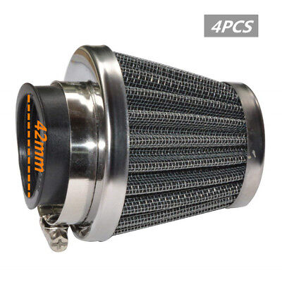 4x 42mm Inlet Round Cone Air Filter Intake Pods Scooter Motorized Bike ATV Quad