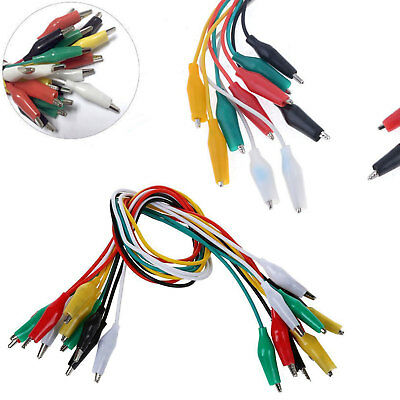10X Colorful Double-end Alligator Ended Clips Test Lead Jumper Wires GL499