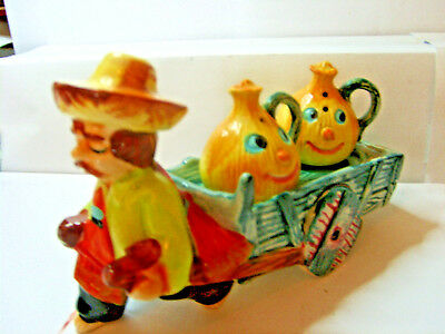 mexican with cart and onion faces  salt and pepper shakers