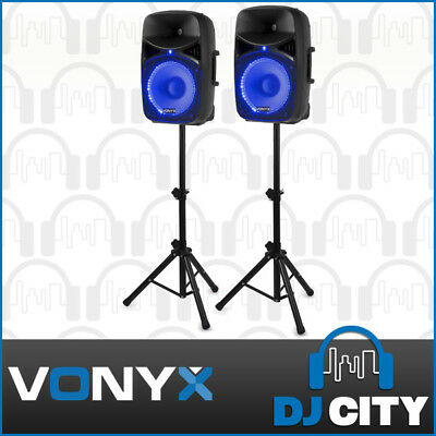 Bluetooth Party PA Karaoke Speaker Set w/ 2x 15 Inch Speakers + Stands + Mic