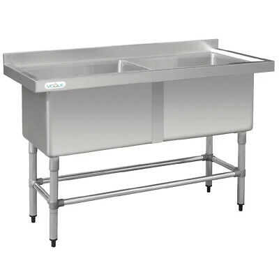 Sink Deep Pot Double 600x1440x900mm Vogue Restaurant Cafe Kitchen Commercial