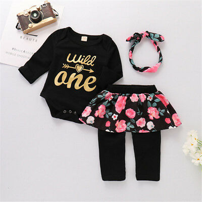 UK Stock Baby Girl Romper+Floral Long Pant Skirt Outfit 1st Birthday Party Set