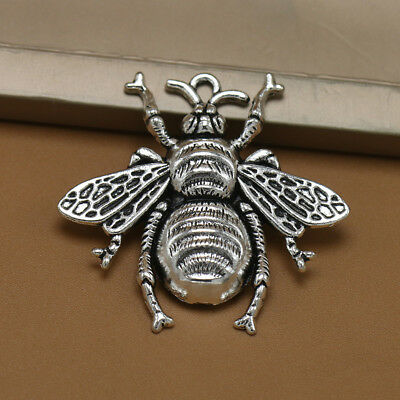 10pcs Antique Silver Bee Charms Honeybee Pendant Jewelry Making Findings