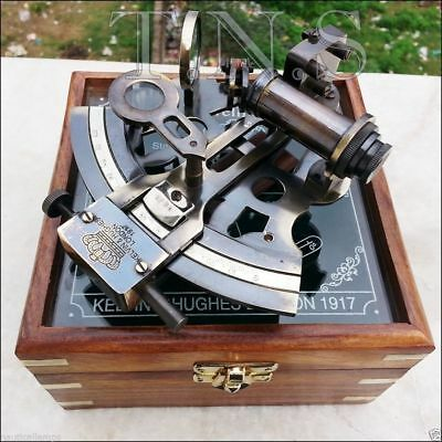 Antique Collectible Vintage Brass Working German Marine Sextant With Wooden Box