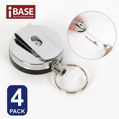 4x Retractable Recoil Key Ring Metal Steel Pull Chain Holder Reel Belt Clip Rope