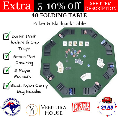 "Folding Poker Table 48"" Blackjack Octagon Casino Player Poker Table Cup Holders"