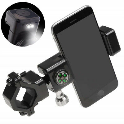 3in1 Bike Motorcycle Handlebar Phone Holder Mount Bracket w/ LED Light Compass