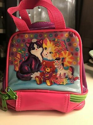 Lisa Frank playtime kittens insulated lunch bag box purse 90's Vintage Neon