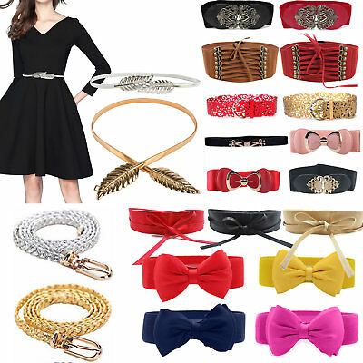 Wholesale Women Leather Wide/Thin Dress Belt Elastic Stretch Buckle Waist Band