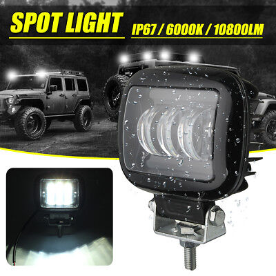 4'' Square 72W LED Fog Spot Work Driving Light Off-road SUV Lamp For Jeep ATV AU